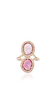 Pave mini pink toumaline slice trinity ring by JACQUIE AICHE for Preorder on Moda Operandi