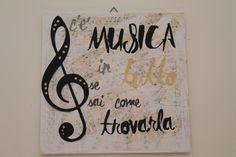 Musica quadro su cartoncino tecnica mista telato collage stencil decoupage