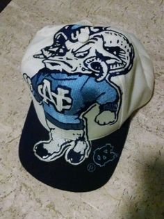 Vintage 90's North Carolina Tar Heels BIG LOGO - THE GAME Snapback Hat Cap RARE!