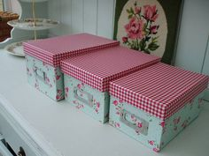 3 duck-egg/vintage style pink rose STORAGE BOXES