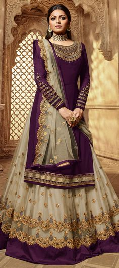 Faux Georgette Festive Long Lehenga Choli in Purple and Violet with Embroidered work Walima Dress, Pakistani Dresses, Indian Dresses, Indian Outfits, Anarkali Dress, Party Wear Lehenga, Party Wear Dresses, Bridal Dresses, Bridal Hijab