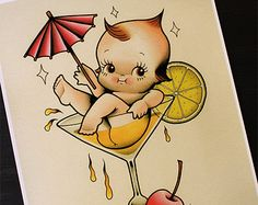 """The DrinKewpie 11""""x14"""" Tattoo Flash Print (Other sizes available)"""