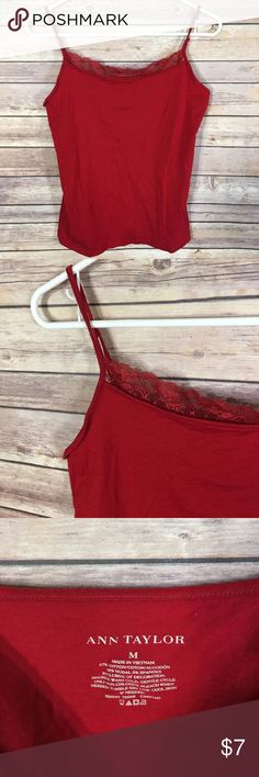 Ann Taylor Red Spaghetti Strap Tank Size Medium Excellent used condition! Ann Taylor Tops Tank Tops
