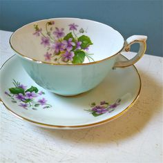 Royal Grafton Cup and Saucer in Robin's Egg Blue and Violets
