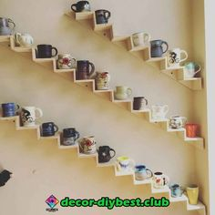 Clever wall display for ceramic mugs and cups. - - Clever wall display for ceramic mugs and cups. Visual Inspiration, Stitch & Rivet Clever wall display for ceramic mugs and cups. Coffee Mug Display, Coffee Mug Holder, Coffee Cups, Coffee Cup Storage, Tea Cups, Diy Kitchen Storage, Kitchen Shelves, Cupboards, Kitchen Organization