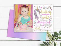 Unicorn Photo Birthday Invitation Magical Celebration Gold Photo Birthday Invitations, Birthday Cards, October Celebrations, Unicorn, Printables, Celebrities, Unique Jewelry, Handmade Gifts, Frame