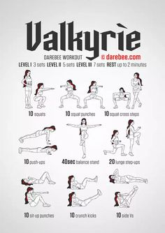Valkyrie Workout by DAREBEE - Healty fitness home cleaning Fitness Workouts, Hero Workouts, Yoga Fitness, At Home Workouts, Health Fitness, Movie Workouts, Weekly Workouts, Fitness Plan, Shuffle Lernen