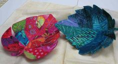 Molded Leaf Bowls made using Inn-Spire double sided moldable fusible - also used to make fabric bowls Quilting Projects, Quilting Designs, Sewing Projects, Quilting Ideas, Fabric Bowls, Leaf Bowls, Textiles, Leaf Shapes, Mug Rugs