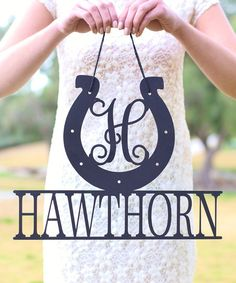 Morgann Hill Designs Unfinished Wood Personalized Lucky Horseshoe Wall Sign | zulily