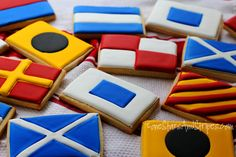 Nautical flag cookies for lake party Nautical Food, Nautical Cake, Nautical Flags, Nautical Party, Nautical Design, Nautical Wedding, Lake Party, House By The Sea, Baby Shower