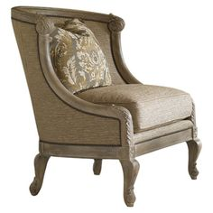 Upholstered accent chair with cabriole legs and nailhead trim.  Product: ChairConstruction Material: Wood and fa...