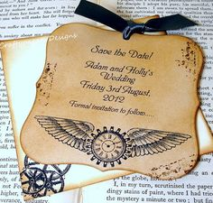 Steampunk save the date/party invitation