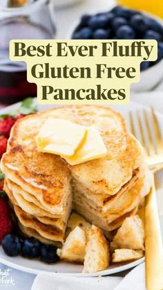 Dairy Free Pancakes, Tasty Pancakes, Gf Pancake Recipe, Pancake Recipes, Gf Recipes, Gluten Free Recipes, Breakfast Recipes, Free Breakfast, Breakfast Time