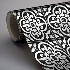 Vinyl Floor Tile Sticker - Floor decals - Carreaux Ciment Encaustic Corona Tile Sticker Pack in Black - Tapete/ Fliesen - Architecture Bathroom Flooring, Vinyl Flooring, Kitchen Flooring, Removable Vinyl Wall Decals, Tile Decals, Sticker Vinyl, Wall Vinyl, Wall Art, Floor Decal