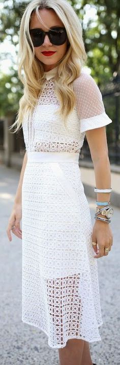 Self Portrait White Lace Eyelet Crochet Midi Dress - Total Street Style Looks And Fashion Outfit Ideas