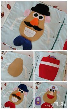 mr and mrs potato head quiet book page. button holes to bind Diy Quiet Books, Baby Quiet Book, Felt Quiet Books, Patchwork Quilting, Book Activities, Toddler Activities, Indoor Activities, Summer Activities, Baby Crafts
