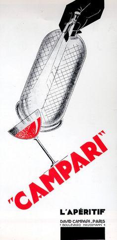 """Campari"" - poster by Yan Bernard Dyl - 1929 Vintage Advertisements, Vintage Ads, Vintage Designs, Vintage Wine, Retro Design, Graphic Design, Print Design, Vintage Italian Posters, My Bubbles"