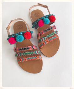 Genuine Leather Sandals ''Iris'', Strappy Sandals, Boho Sandals, Ancient Greek Style, Pom Pom Sandals