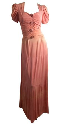 Ombre Pink Jersey Bow Trimmed Party Gown circa 1930s - Dorothea's Closet Vintage