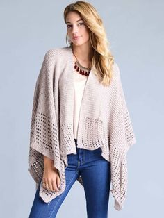 #AdoreWe #StyleWe Coats - Oh! So Cali Clothing Beige Batwing Solid Asymmetrical Knitted Poncho And Cape - AdoreWe.net