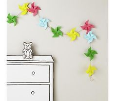 """Kids Decor: Colorful Pinwheel Garland $16.95 from the Land of Nod's new Fall collection """"Bright and Bold"""""""