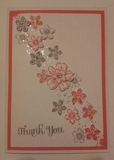 Thank you card - Stampin up/Petite Petals, Gorgeous Grunge