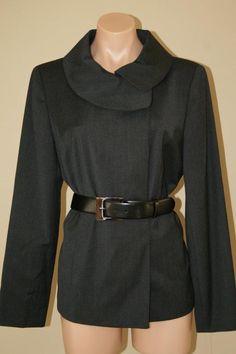 NWT $450 Anne Klein NY Charcoal Grey Wool Asymmetrical Belted Coat Jacket sz 12 #AnneKleinNewYork #BasicCoat #Business