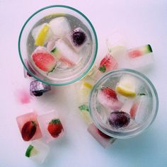 freeze herbs & fruit in ice cubes