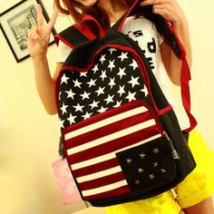 usd30.99/Image of  European Style Star Strip Print Rivet American Flag Canvas Backpack