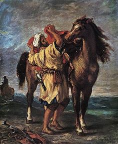 Abu al Khayr had access to the Crusader royal count. He taught King Baldwin IV to ride horseback, but he also was in contact with Saladin. (Delacroix - Marocan and his Horse)