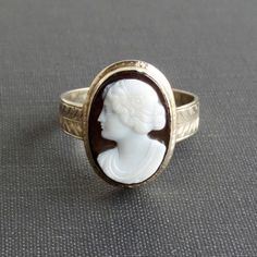 Antique Cameo Ring. Large Hardstone Sardonyx Black and by TheDeeps
