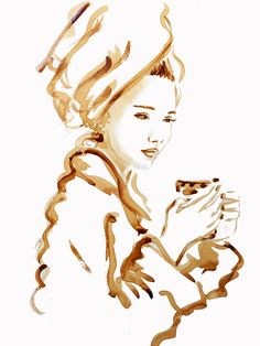 Coffee painting, coffee art, fashion illustration                              …