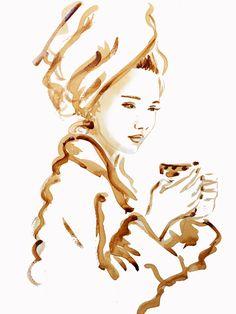 Coffee painting, coffee art, fashion illustration