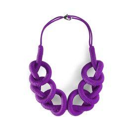 LEEK Handmade Jewellery SEINODI Rope Necklace - purple ($89) ❤ liked on Polyvore featuring jewelry, necklaces, black, purple jewelry, macrame necklace, crochet rope necklace, macrame knots jewelry and rope knot necklace