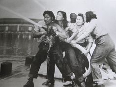 Women fighting fires at Pearl Harbor
