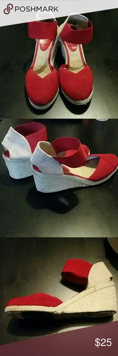 Ralph Lauren  red wedges These are super cute and comfy!  Overall  good condition! The right shoe heel part of the sole is worn down a little other then that these are great! Ralph Lauren Shoes Wedges