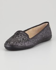 UGG Australia Asher Shearling-Lined Glitter Loafer, Black - Neiman Marcus