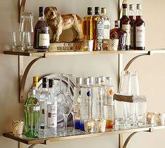 Like this but chrome brackets // Brass Shelf #potterybarn