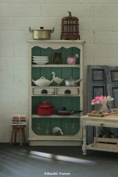 Handmade Dollhouse Furniture  Kitchen - Kitchen Cabinet  - 1/12 Dollhouse Miniature Scale
