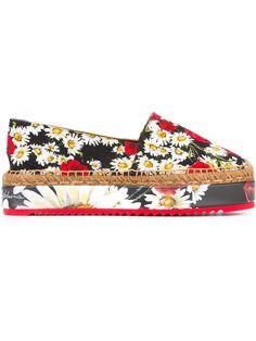 Dolce & Gabbana daisy and poppy print espadrilles