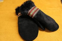Women's Black Moose Hide and Black Rabbit Fur Mitts Perfect For Nativity Crafts, Green Ribbon, Rabbit Fur, Mittens, Knits, Moose, Gloves, Indian, Country
