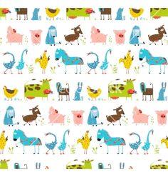 Bright fun cartoon farm domestic animals seamless pattern vector - by Popmarleo on VectorStock®