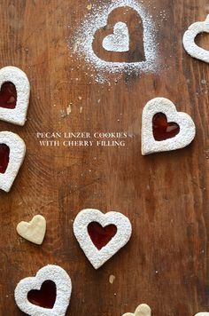 Pecan Linzer Cookies with Cherry Filling #valentinesday #dessert #recipes #cookies #hearts