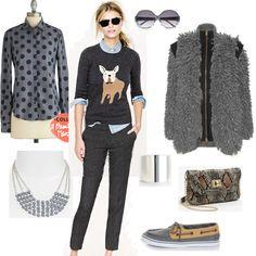 Cute casual look for the Shades of Grey fashion mission on shopforfun.com