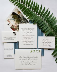 "A Classic, Nature-Inspired Wedding in Sea Island | Martha Stewart Weddings - ""For the invitation, we wanted to have things look more sophisticated and formal, with a subdued color palette and calligraphy as the focus,"" says the bride of the gold, cream, and charcoal gray suite. The Lettered Olive pulled the initials from the couple's save-the-dates and created a refined version using blind letterpress on the reception card."