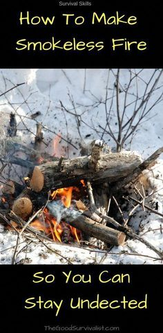 When building a smokeless stealth fire you will notice that there is a little bit of smoke as the fire starts but it quickly vanishes as the fire grows in strength. It will allow you to go completely undetected. Survival Food, Homestead Survival, Wilderness Survival, Camping Survival, Outdoor Survival, Survival Prepping, Emergency Preparedness, Survival Skills, Survival Stuff