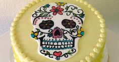 I've gotten the chance to make Day of the Dead themed cakes quite a few times and I always love decorating the sugar skulls. This cake was n. Sugar Skull Cakes, Sugar Skulls, Halloween Birthday Cakes, Themed Cakes, Times, Decorating, Desserts, How To Make, Food