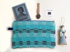 Are you an Austen fan? #janeites Turquoise Zippered Pouch |Stripes |Electric blue bag | Zip Pouch | Jane Asten
