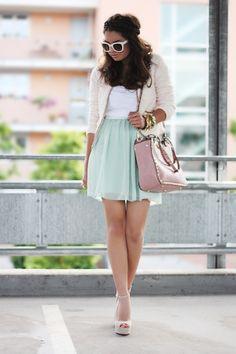 Zara blazer & sunglasses, Primark skirt & shirt, Steve Madden shoes, VJ Style bag.  Find similar skirt here: http://shop-the-collection.enstore.com/item/novak-skirt $65.00