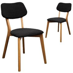 Set of 2 - Jelly Bean Dining Chair - Charcoal